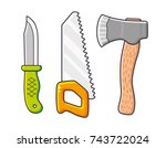 outdoor knife  hand saw and axe.... | Shutterstock .eps vector #743722024