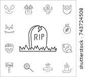 halloween grave icon.... | Shutterstock .eps vector #743724508