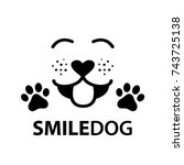 dog smile face with paw and... | Shutterstock .eps vector #743725138