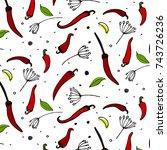 vector kitchen pepper flavor... | Shutterstock .eps vector #743726236