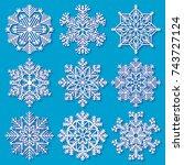 set of white highly detailed... | Shutterstock .eps vector #743727124