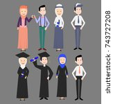 graduate and wedding people | Shutterstock .eps vector #743727208