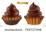chocolate cupcake  fairy cake.... | Shutterstock .eps vector #743727448