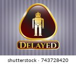 gold shiny badge with robot... | Shutterstock .eps vector #743728420