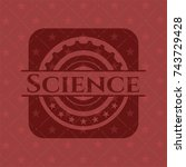 science badge with red... | Shutterstock .eps vector #743729428
