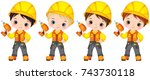 vector cute little boys... | Shutterstock .eps vector #743730118