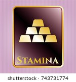 shiny emblem with gold bullion ... | Shutterstock .eps vector #743731774