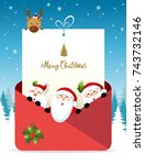 christmas greeting card. santa... | Shutterstock .eps vector #743732146