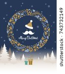 christmas gift card with... | Shutterstock .eps vector #743732149