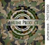 genuine product on camo pattern | Shutterstock .eps vector #743732530
