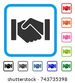 relation handshake icon. flat... | Shutterstock .eps vector #743735398