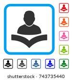 reader boy icon. flat grey... | Shutterstock .eps vector #743735440