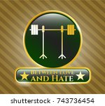 gold badge with barbell on... | Shutterstock .eps vector #743736454