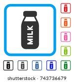 milk bottle icon. flat gray...