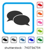 message clouds icon. flat grey... | Shutterstock .eps vector #743736754