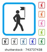 guide man with flag icon. flat... | Shutterstock .eps vector #743737438