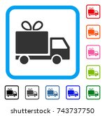 gift delivery icon. flat grey...