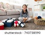 asian kids happy to make... | Shutterstock . vector #743738590
