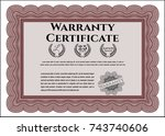 red warranty template. with... | Shutterstock .eps vector #743740606