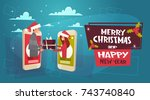 merry christmas and happy new... | Shutterstock .eps vector #743740840