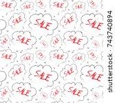 sale seamless pattern sketch... | Shutterstock .eps vector #743740894