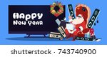 happy new year banner with... | Shutterstock .eps vector #743740900