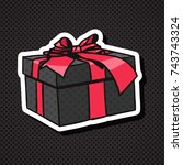 realistic gift box icon with... | Shutterstock .eps vector #743743324