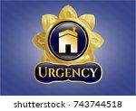 golden emblem or badge with... | Shutterstock .eps vector #743744518