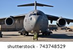 Moody, Georgia, USA - October 27, 2017: A U.S. Air Force C-17 Globemaster III cargo plane at Moody Air Force Base. This C-17 belongs to the 436th Airlift Wing from Dover Air Force Base