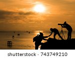 friends helping each other and... | Shutterstock . vector #743749210