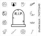 halloween grave icon.... | Shutterstock .eps vector #743751640