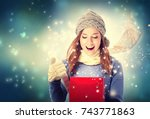 happy young woman opening a...   Shutterstock . vector #743771863