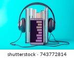 phone with black headphones... | Shutterstock . vector #743772814
