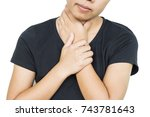 woman neck pain on white... | Shutterstock . vector #743781643
