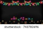 christmas light golden flag and ... | Shutterstock .eps vector #743782696