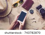 using mobile search for travel... | Shutterstock . vector #743782870