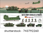 nato army war military set with ... | Shutterstock .eps vector #743792260