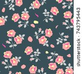 ditsy seamless pattern with... | Shutterstock .eps vector #743795443