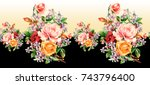 Stock photo watercolor flower pattern 743796400