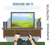recreation and tv concept. man... | Shutterstock .eps vector #743796778