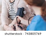 scaled up look on nurse... | Shutterstock . vector #743805769