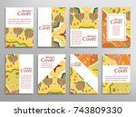 set of a4 cover  abstract... | Shutterstock .eps vector #743809330