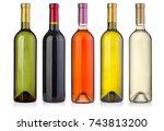 set  of wine bottles  isolated... | Shutterstock . vector #743813200