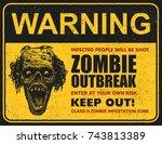 poster zombie outbreak. sign... | Shutterstock .eps vector #743813389