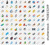 100 interface icons set in...
