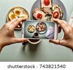 healthy breakfast. sandwiches... | Shutterstock . vector #743821540