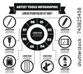 artist tool infographic banner... | Shutterstock . vector #743825458