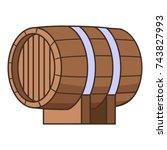 horizontal wooden barrel icon.... | Shutterstock . vector #743827993