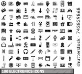 100 electronics icons set in... | Shutterstock . vector #743829868