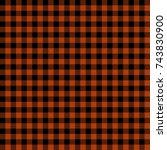 orange lumberjack buffalo plaid ... | Shutterstock .eps vector #743830900